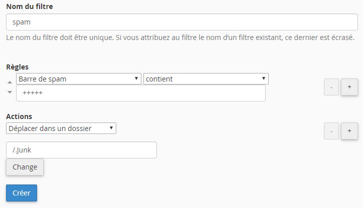 Configuration du filtre sur votre compte courriel permettant d'envoyer le spam automatiquement dans le dossier Junk