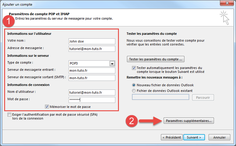 Configuration Outlook pour une adresse de messagerie en POP non SSL