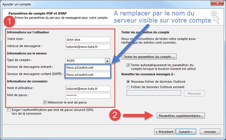 Configuration de Outlook 2016 en POP SSL