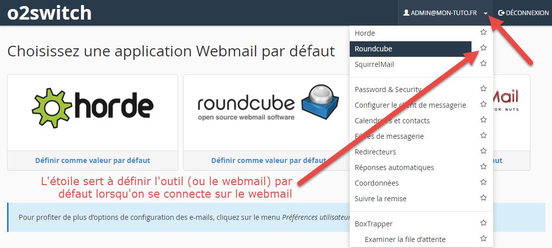 Affichage des outils supplémentaires dans le webmail