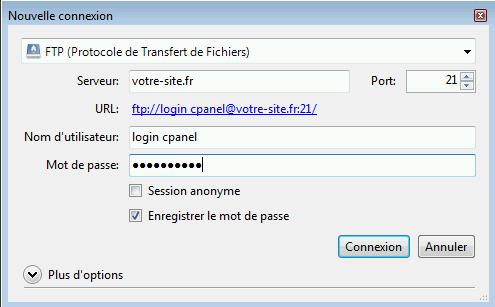Paramétrage du logiciel pour votre espace d'hébergement