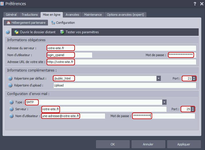 Configuration du logiciel OpenElement avec les accès FTP et mail