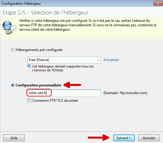 Étape 1 de Toweb : précision de l'adresse FTP