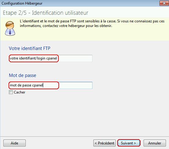 Étape 2 de Toweb : paramétrage du login et du mot de passe FTP
