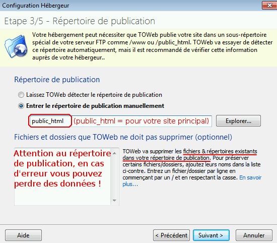 Étape 3 de Toweb : configuration du répertoire de publication du site
