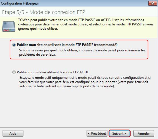 Étape 5 de Toweb : choix entre FTP actif et passif