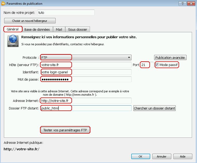Configuration FTP de webacappella