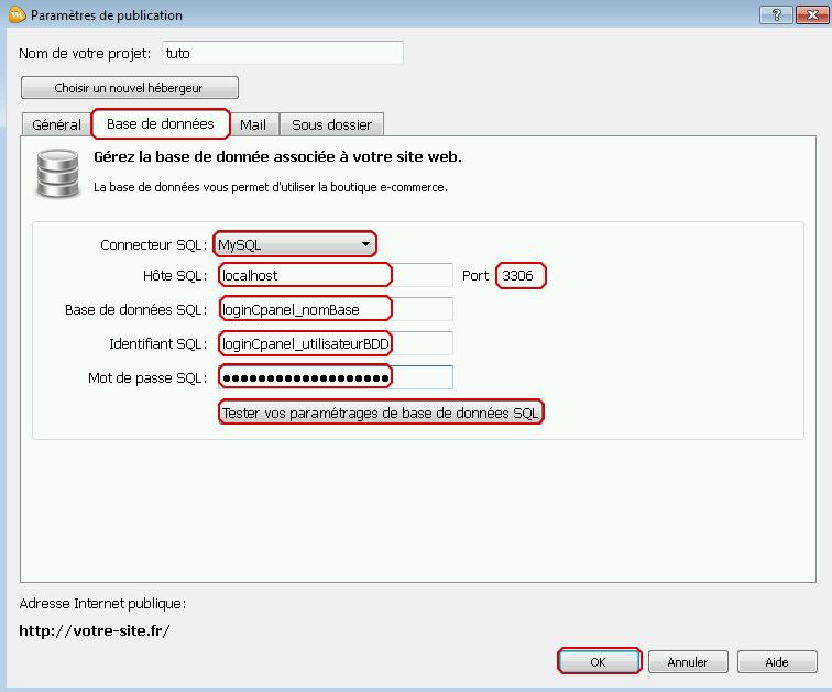 Configuration de la base de données mysql dans webacappella