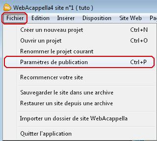 Ouverture des paramètres de publication de webacappella
