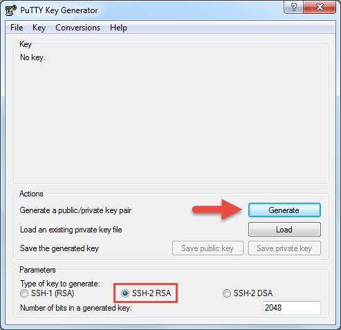 Génération des clés avec PuttyGen