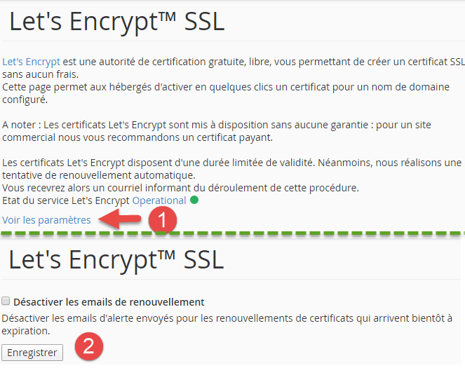 Notification de renouvellement de certificat SSL