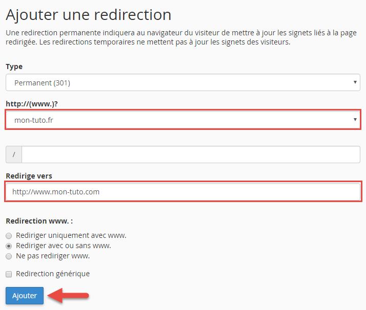 Outil de redirections de cPanel