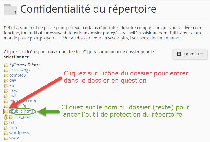 Explication de la différence entre l'icône du dossier et le lien texte