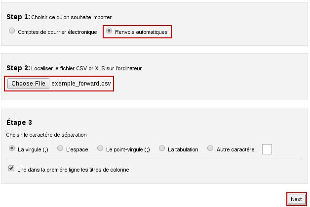 Importation de redirecteurs de mails dans cPanel