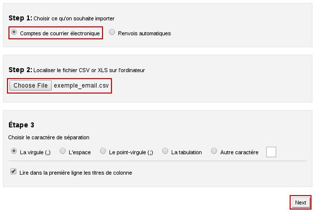Importation d'un fichier csv d'emails dans cPanel