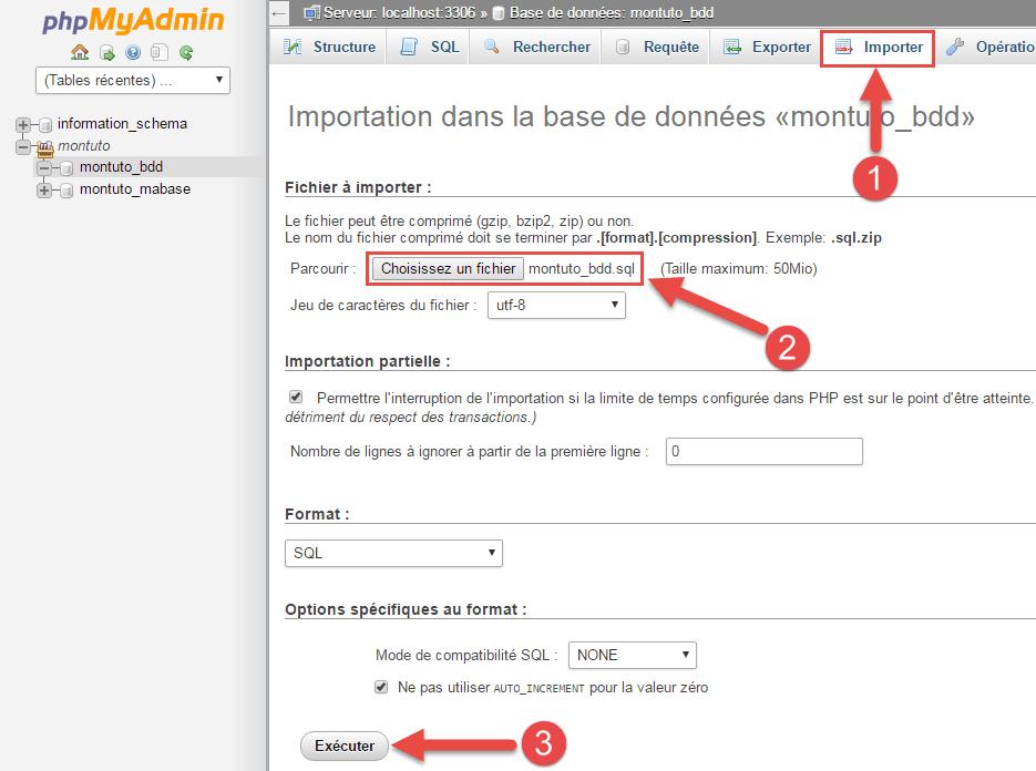 Importation de la sauvegarde de la base de données dans phpmyadmin