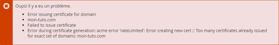 Erreur liée aux limitations de Let's Encrypt