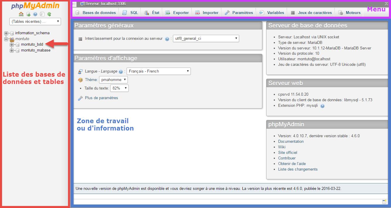 Présentation des différentes partie de phpmyadmin