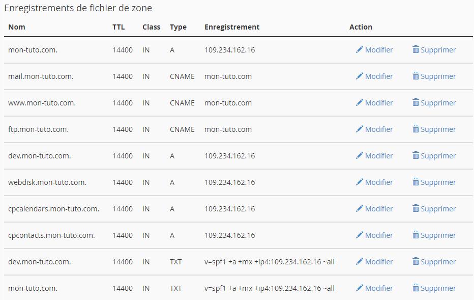Récapitulatif des entrées DNS en place sur le domaine