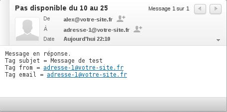Exemple de message automatique envoyé