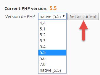 Sélection de la version de PHP