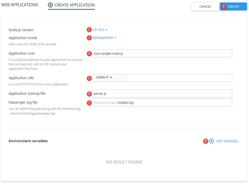 Déploiement d'une application nodeJS sur un hébergement o2switch