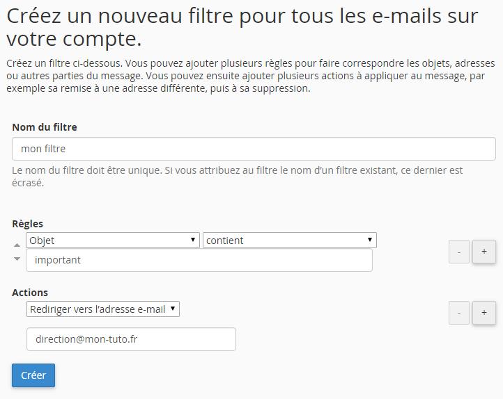Création d'un filtre sur l'ensemble des adresses emails