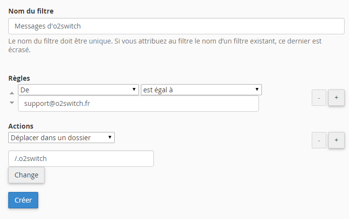 Formulaire de création d'un filtre email