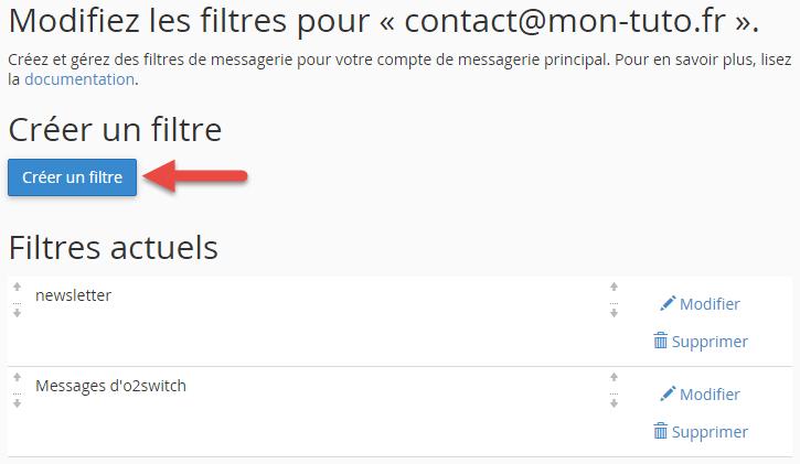 Création d'un filtre de messagerie simple sur l'adresse email