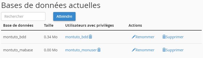Tableau récapitulatif des bases de données et utilisateurs