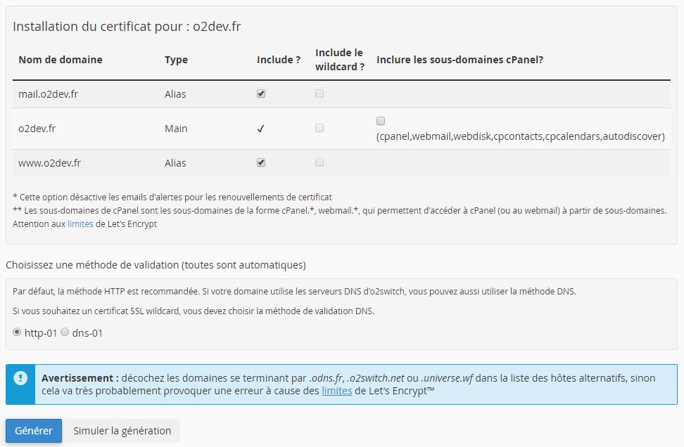 Activation du certificat SSL sur un ou plusieurs domaines