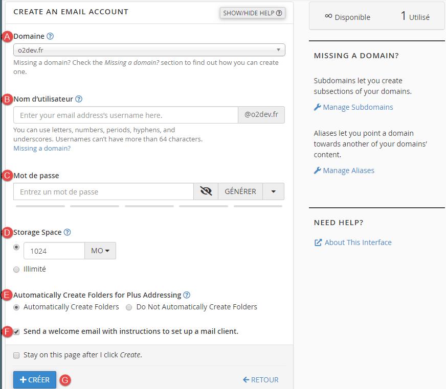 Créer un nouveau compte email
