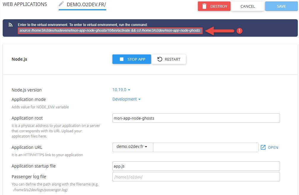 Page du projet nodeJS sur setup nodejs app o2switch