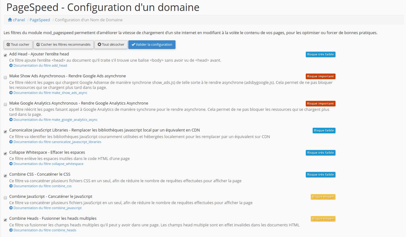 Affichage de la page de PageSpeed permettant la configuration des filtres pour un domaine
