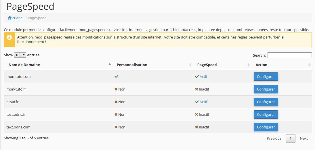 Page d'accueil de l'outil PageSpeed