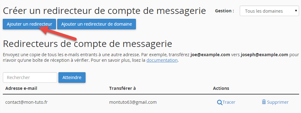 Configuration d'une redirection de mail