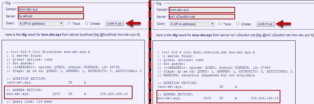 Vérification de la configuration DNS sur Kloth