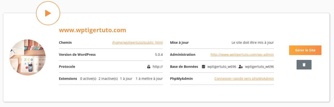 Détail d'une instance de WordPress
