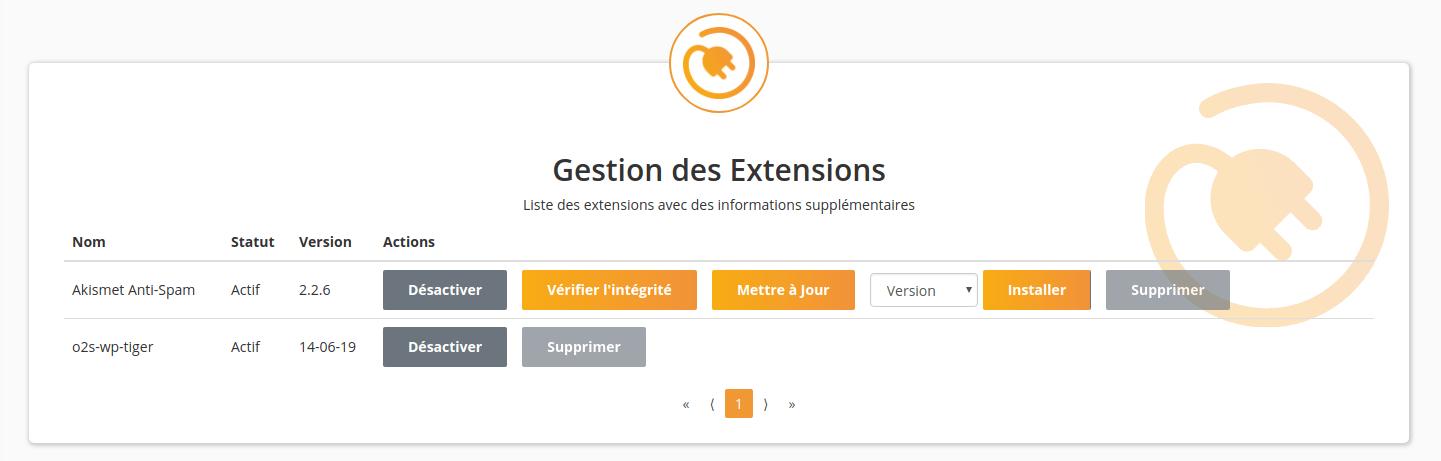 Gestion des extensions dans WP Tiger