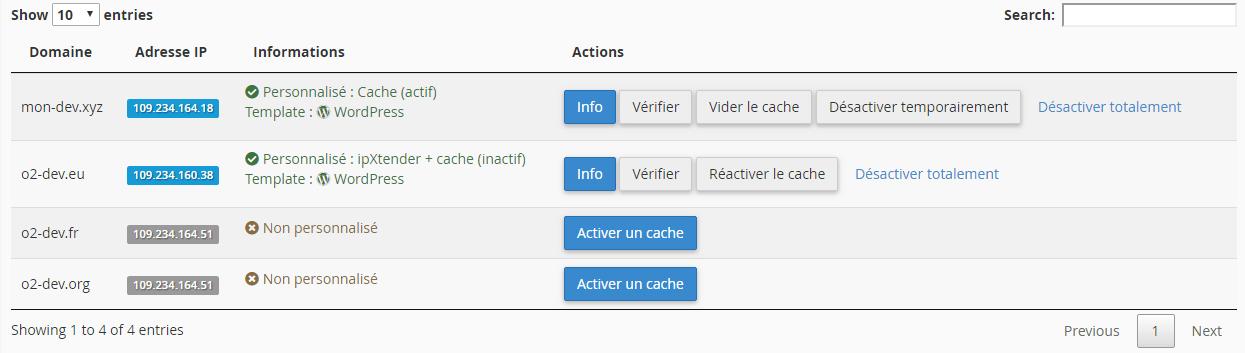 Page d'accueil de l'outil d'ajout de cache varnish o2switch