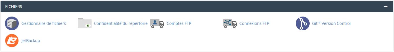 Outils de la catégorie Fichier de cPanel