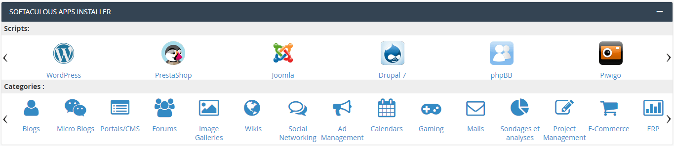 Section Softaculous cPanel