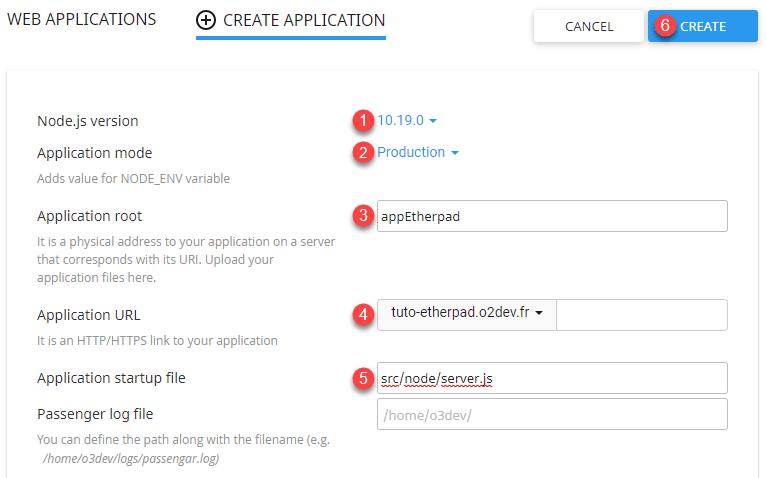 Formulaire de création de l'environnement virtuel nodeJS pour installer Etherpad