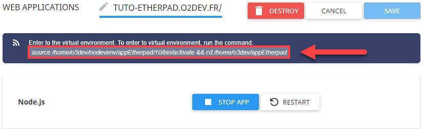 La commande source permet d'entrer dans l'environnement nodeJS en SSH