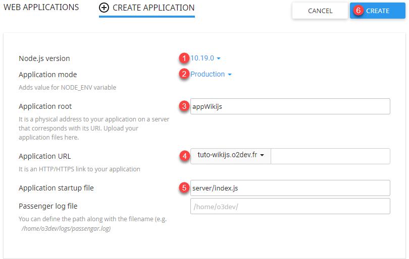 Formulaire de création de l'environnement virtuel nodeJS pour déployer WikiJS