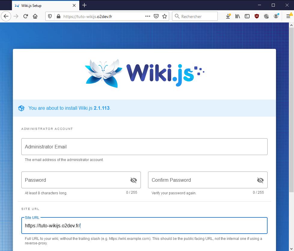 Finalisation de l'installation WikiJS sur un hébergement o2switch