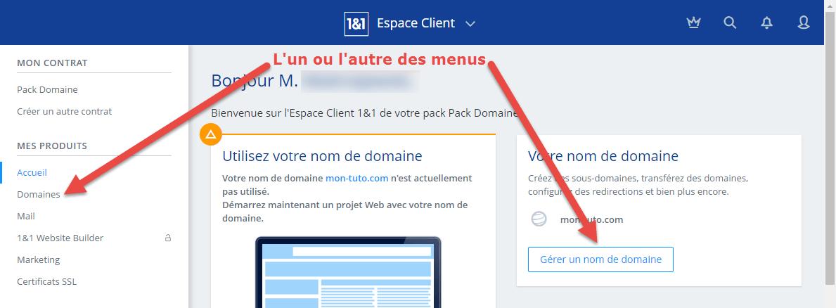 Sélection du nom de domaine dans l'interface client