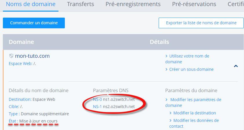 Dernière étape, vérification de la prise en compte des DNS