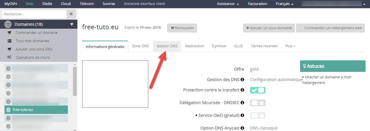 Sélection de l'outil de gestion des DNS