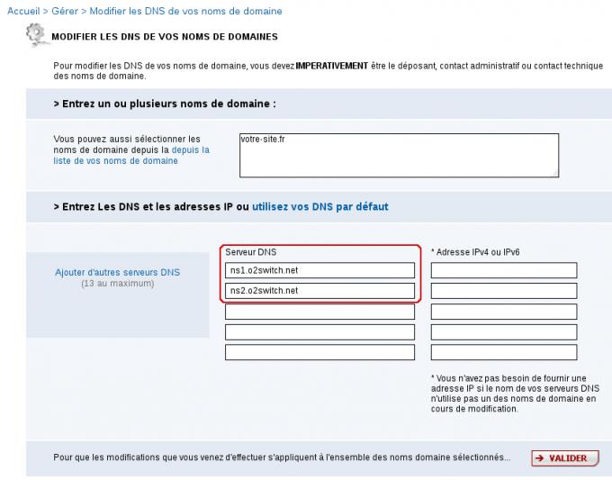 Changer les serveurs DNS chez bookmyname